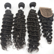 "Zenith Women's 3Bundles+1Closure Deep Wave Virgin Malaysian Unprocessed Raw Weaving Extension 3Pcs25cm 30cm 36cm and 1Pice Remy Hair Closure(4*4)10"""