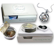 Rose Necklace Love Pearl Flower Pendant Locket Freshwater Cultured Pearl in Oyster Kit Gift Set 46cm
