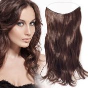 Flip In Hair Extensions Wavy (Corrugated) Halo Hair, Medium Brown (# 8), 50 cm, 120 g