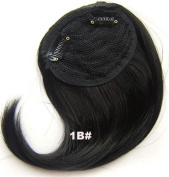 #1B Synthetic Hair Clip In/On Side Hair Fringe/Bangs