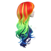 Hosee Curly Multi Colour Rave Neon Rainbow Halloween Costume My Little Pony Cosplay Colourful Synthetic Wigs
