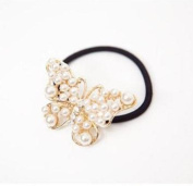 Cute Women's Pearls Rhinestone Bow Hair Rope Scrunchie Ponytail Holder
