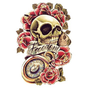 Halloween Tattoo for adults colourful skull with roses and with the word freedom realistic and nontoxic fake tattoo stickers