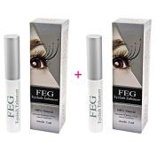 2x FEG Eyelash Enhancer 3ml Eyelash growth serum 100% NATURAL