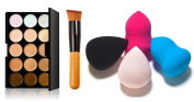 Hibeauty- Kit of Make up tools 15 Colours Foundation Cosmetic Palette Cream + Corrective Powder Brush+ 4pcs Beauty Flawless Blender Foundation Puff