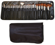 BLACK - 32pc BEAUTY MAKE UP BRUSH SET & BAG.