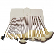 Multi-mo 24Pcs Makeup Brushes Set Cosmetics Synthetic Kabuki Make up Brush Foundation Blending Blush Eyeliner Face Powder Makeup Brush Set With Leather Case Beige