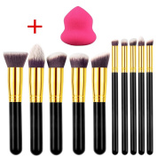 DE'LANCI 10 Pieces Professional Foundation Blending Blush Eye Face Liquid Powder Cream Cosmetics Brushes +1 Piece Blender Makeup Sponge