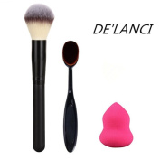 DE'LANCI large powder Professional Makeup Brush +Oval Cosmetic Cream Powder Blush Makeup Brush+ Rose Red Mini Size Cosmestic Sponge Puff