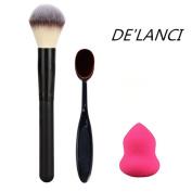 DE'LANCI large powder Professional Makeup Brush +Oval Cosmetic Cream Powder Blush Makeup Brush+ Rose Red Mini Size Cosmestic Sponge Puff