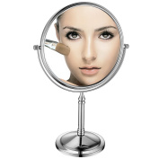 GuRun 20cm Double-Sided Swivel Free Standing Table Mirror On Stand With 10X Magnification, Chrome Finish M2202