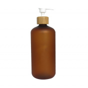 500ml Bamboo Cap Amber Frosted Plastic Lotion Cream Pump Bottle Shampoo Body Wash Empty Container