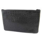 Leather makeup case 'Frandi'black (crocodile).