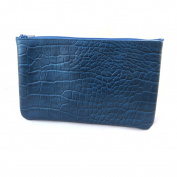 Leather makeup case 'Frandi'blue (crocodile).