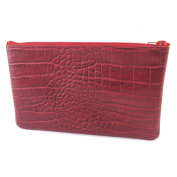 Leather makeup case 'Frandi'red (crocodile).