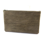 Leather makeup case 'Frandi'taupe (crocodile).