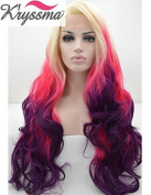 K'ryssma Ombre Blonde Pink Purple Natural Wavy Wigs for Party Long Synthetic Hair Glueless Lace Front Wig for Girls Half Hand Tied Heat Friendly 60cm