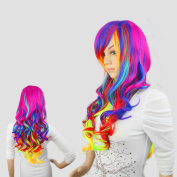 Fashion Sexy Women Ladies Rainbow Dash Cosplay Party Wig Long Curly Full Wig My Little Pony