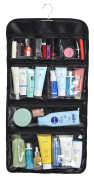 WODISON Foldable Clear Hanging Travel Toiletry Bag Cosmetic Organiser Storage Black