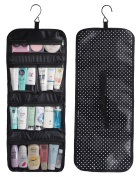 WODISON Foldable Clear Hanging Travel Toiletry Bag Cosmetic Organiser Storage Small Dot