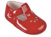Baby T Bar Pram Shoes with petal punch cut pattern - Made in England by Early Days Baypods - All colours for boys and girls.