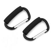Black D Shape 14cm Large Buggy Carabiner Hook Pram Pushchair Stroller Clip Hook Shopping Bag Holder