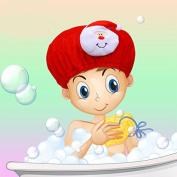 Children cartoon waterproof shower cap,red