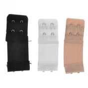 2 hook bra extender 3 PACK extension black nude white 3cms deep
