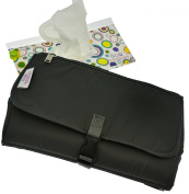 Travel Changing Pad - Portable Nappy Clutch Bag with Wipes Dispenser Kit - Change Mat Covers Changer Table, Tray and Station to Keep Baby Clean and Safe