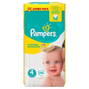 Pampers New Baby Premium Protection Nappies Size 4 Jumbo Pack 54 per pack