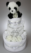 Luxury Unisex Baby Boy Girl Three Tier Nappy Cake with Cute Panda and layette set New Born Baby Shower Gift