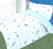 COT BED DUVET COVER WITH PILLOWCASE- SUPERIOR NATURAL COTTON RICH 120 X 150 CM - SWALLOWS