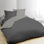 Vision Double Duvet Cover 100% Cotton 1 Duvet Cover 220 x 240 cm and 2 Pillowcases 65 x 65 cm Grey and Anthracite