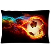 Flaming Soccer Pillowcase - Pillowcase with Zipper, Pillow Protector, Best Pillow Cover - Standard Size 50cm x 80cm , One-sided Print