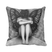 Beautiful Lady with Wings Throw Pillow Case Vintage Cushion Cover Angel Pillowcase 16X16 Twin Sides Cotton Polyester