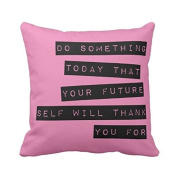 Motivational Pillow Black & Pink Square Throw Pillow Case Cotton Polyester Soft Comfortable 18x18 Pillowcase