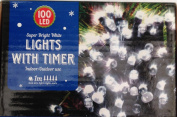 New - 100 White LED fairy lights - indoor or outdoor - multi function - battery operated - with timer