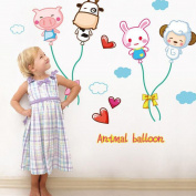 TAFLY Animal Ballon Wall Stickers Wall Decals for Kids Room 1 Sheet