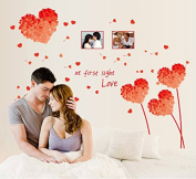 Red Heart Shape Photo Frames Wall Decal Home Sticker Paper Removable Living Dinning Room Bedroom Kitchen Art Picture Murals DIY Stick Girls Boys kids Nursery Baby Playroom Decoration