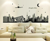 Shanghai Landscape Night Lighting Wall Decal Home Sticker Paper Removable Living Dinning Room Bedroom Kitchen Art Picture Murals DIY Stick Girls Boys kids Nursery Baby Playroom Decoration