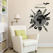 Stylish Global Travelling Night Lighting Wall Decal Home Sticker Paper Removable Living Dinning Room Bedroom Kitchen Art Picture Murals DIY Stick Girls Boys kids Nursery Baby Playroom Decoration
