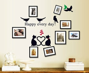 English Letters Happy Every Day Birds and Cats Photos Frame Wall Decal Home Sticker Paper Removable Living Dinning Room Bedroom Kitchen Art Picture Murals DIY Stick Girls Boys kids Nursery Baby Playroom Decoration