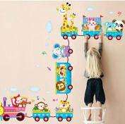 Rainbow Fox Cartoon Animal Cars Trains Nursery Room Babroom Kindergarten Vinyl Wall Decal