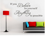 "Rainbow Fox ""If you believe in yourself, anything is possible"" Quote Wall Decal Wall Sticker"