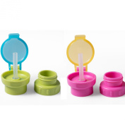 Lusee® 2x unisex baby bottle drinking straw cover Replacement Cover Pink Green