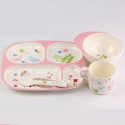 Kids Divided Plates,cup and Bowl Melamine Dinnerware,Set of 5,pink