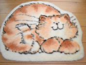 Marmalade Cat Non Slip Machine Washable Sheepskin Style Kids Rug. Size 70cm x 92cm