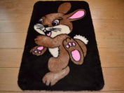 Bunny Rabbit Non Slip Machine Washable Sheepskin Style Kids Rug. Size 70cm x 100cm