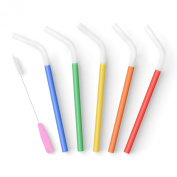 PREMIUM Reusable Smoothie Straws (x5), BPA-Free Silicone with Brush, Long, Wide, Soft & Flexible for Safely Drinking Smoothies, Shakes, Juice, Fizzy Drinks, Tea, Coffee | from Seraphina's Kitchen | Protect Your Teeth Now!