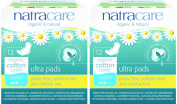 (2 Pack) - Natracare - Ultra Pads Super with Wings | 12pieces | 2 PACK BUNDLE